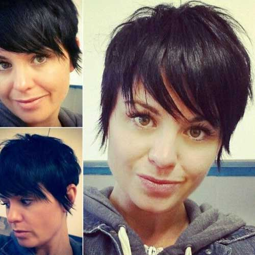 Dark Pixie Cut Long Bangs