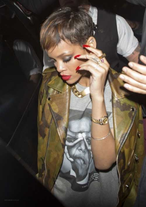 Rihanna Dark Pixie Haircut Hair