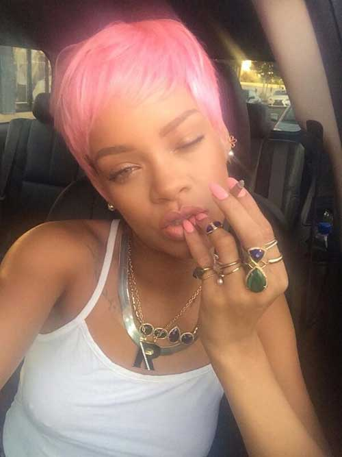 Rihanna Pink Pixie Cut Hairstyles