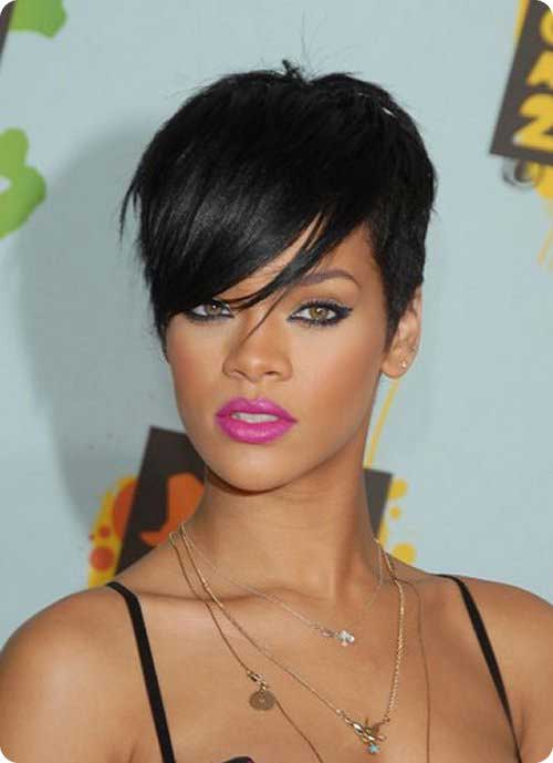 Rihanna Straight Hair Pixie Cuts