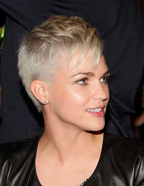 Shaved Blonde Pixie Hair Cut