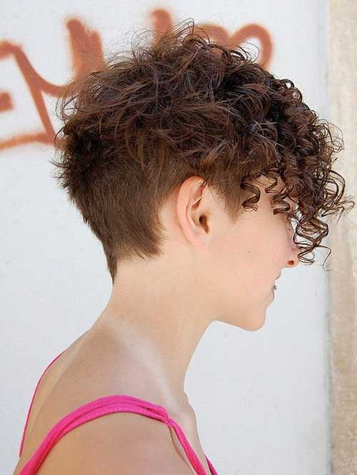 Short Asymmetrical Curly Pixie Cuts