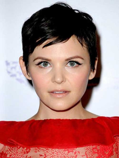 Straight Hair Brunette Pixie Cuts