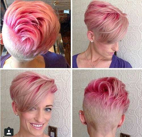 Stylish Pink Pixie Hair Cut