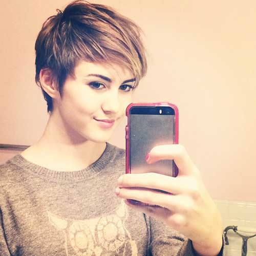 Stylish Pixie Cut Long Bangs