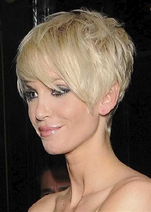 Stylish Blonde Thick Pixie with Long Bangs