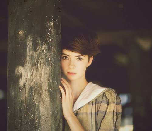 Girls Brown Hair Pixie Cut