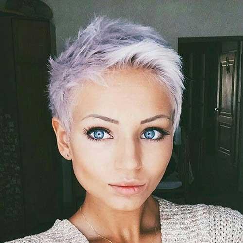 Grey Hair Edgy Pixie