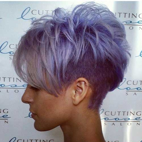 Grey Purple Pixie Cut Hair Colors