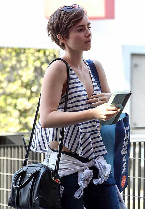 Lily Collins Edgy Pixie Cuts