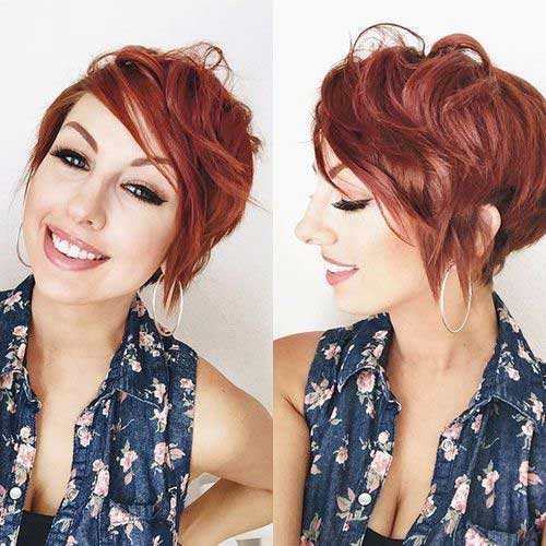 Red Pixie Cut with Long Bangs