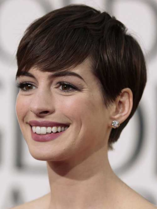 Anne Hathaway Brown Hair Pixie Cut