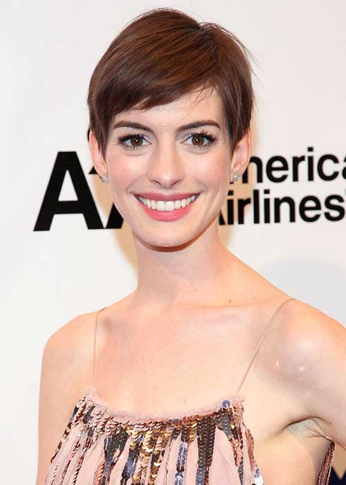 Anne Hathaway Casual Pixie Hairstyles
