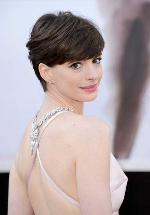 Anne Hathaway Long Pixie Haircut