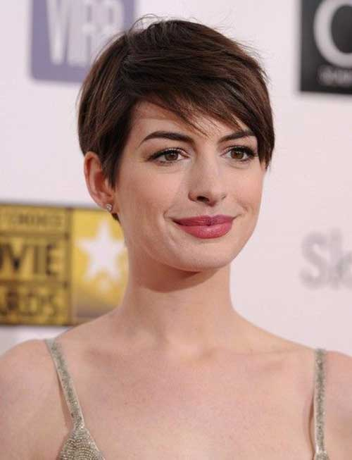Anne Hathaway Best Pixie Layered Cut