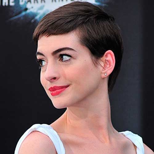 Anne Hathaway Short Pixie Hair 2015