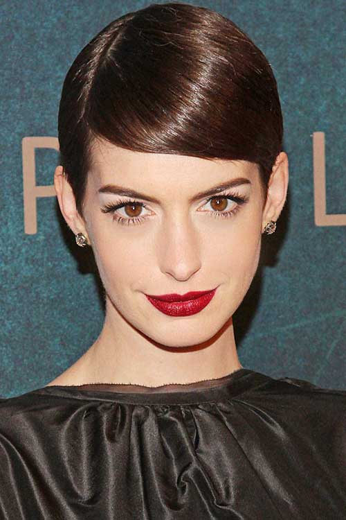 Anne Hathaway Slicked Pixie Hairstyles