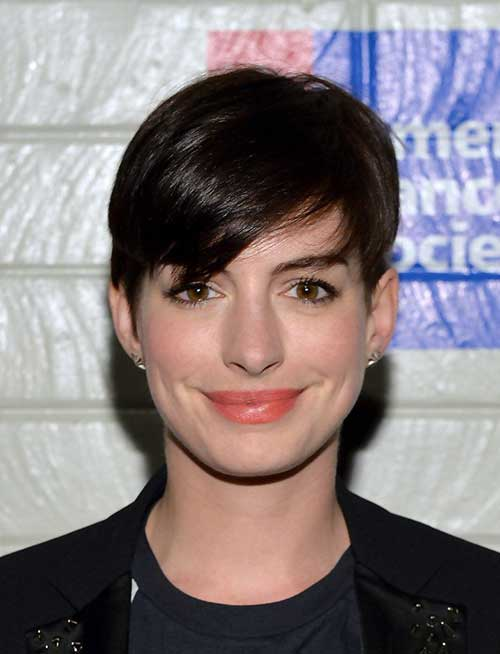 Anne Hathaway Straight Hair Layered Pixie Cut