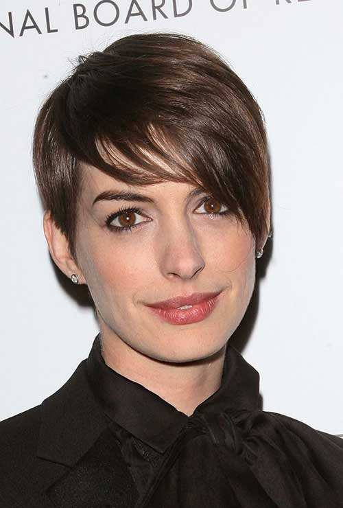 Anne Hathaway Straight Layered Cut Pixie Hairstyles