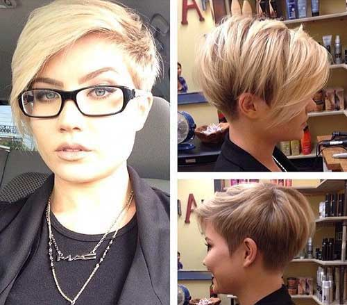 Asymmetrical Pixie Blonde Color Hair