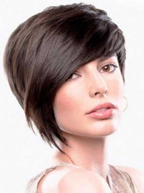 Asymmetrical Pixie Cut Dark Hair Color
