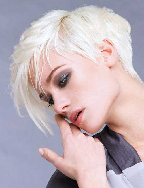 Asymmetrical Platinum Pixie Hair Cuts