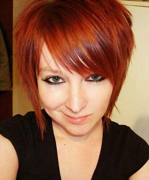 Best Asymmetrical Red Pixie Cut Hair