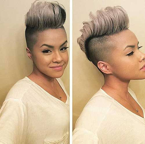 Best Black Women Shaved Sides Grey Pixie