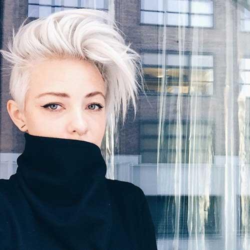 Blonde Pixie Haircut Long Top