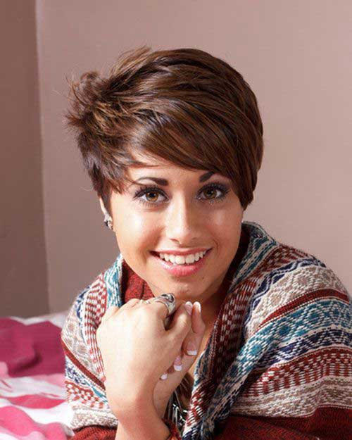 Brown Pixie Haircut for Oval Face