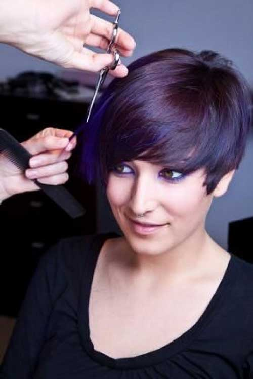 Brunette Edgy Pixie Hair