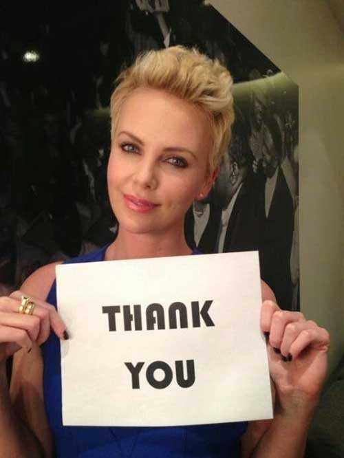 Charlize Theron Trendy Pixie Crop Hair