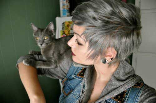 Cropped Grey Pixie Hairstyles