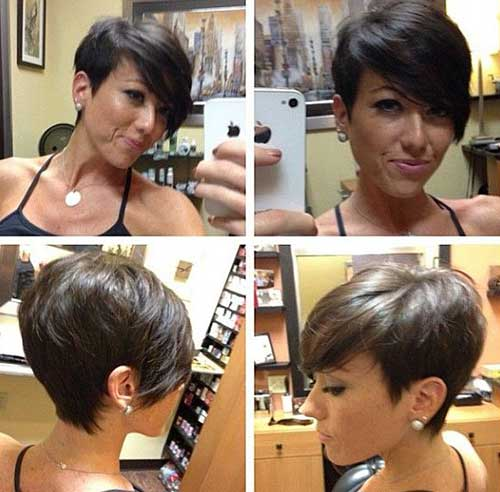Dark Brown Pixie Haircut