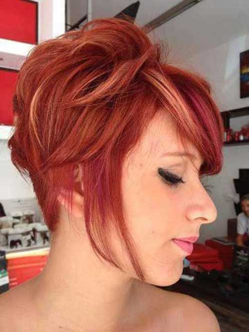 Deep Brown Red Color Pixie Hair Cuts