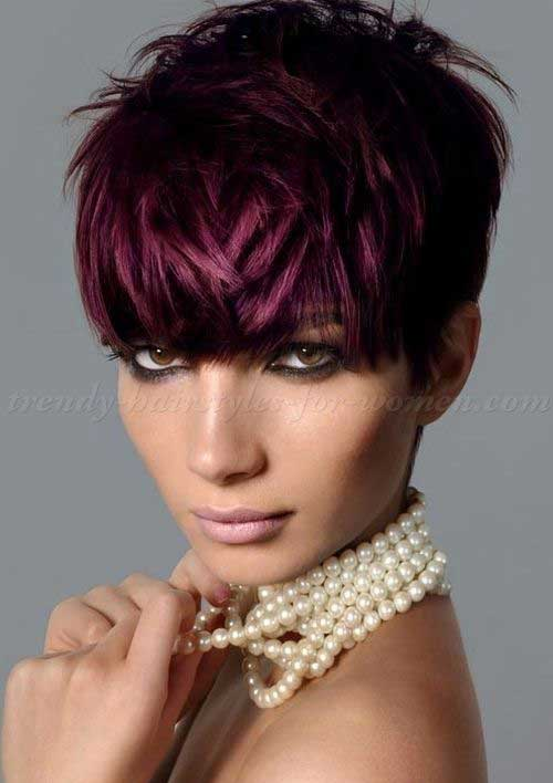Deep Burgundy Cropped Pixie Hair Color