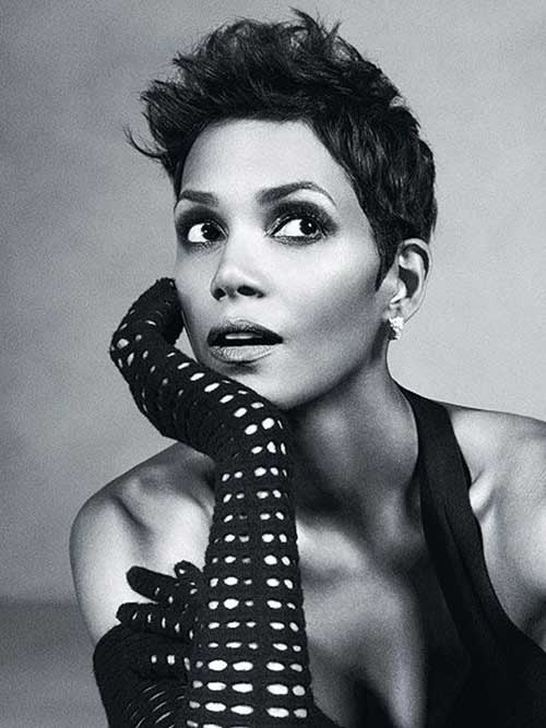Halle Berry Dark Spiky Pixie Hair Styles