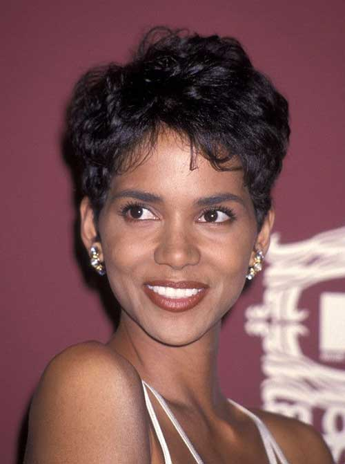 Halle Berry Short Dark Pixie Haircut