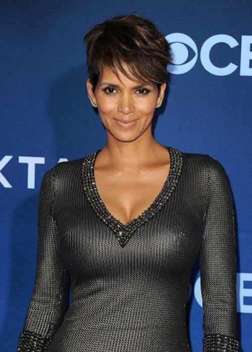 Halle Berry Straight Layered Pixie Hair