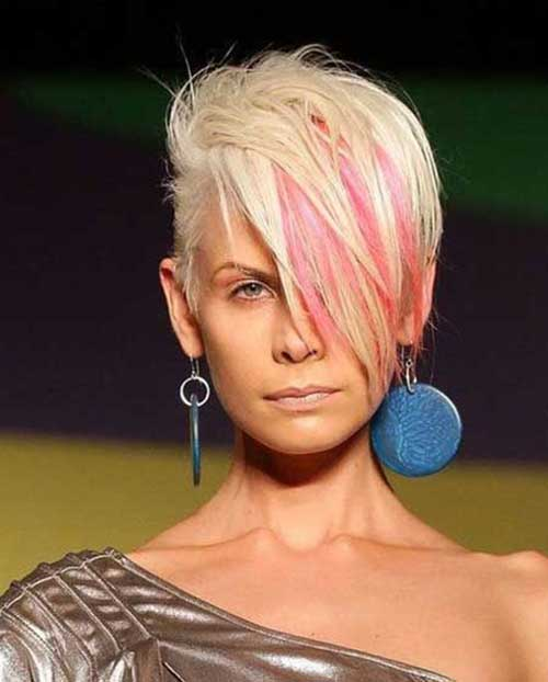 Highlighted Pink Short Pixie Haircuts