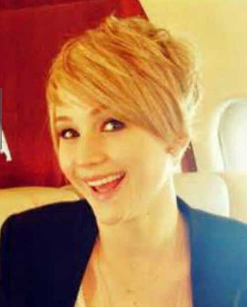 Jennifer Lawrence Asymmetrical Pixie Hair Cut Style