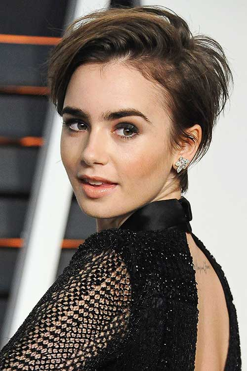Lily Collins Razor Pixie Short Hair