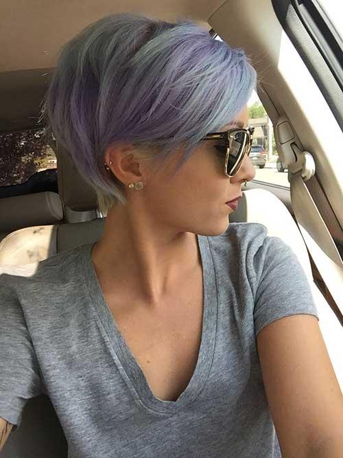 Long Pastel Blue Pixie Haircuts