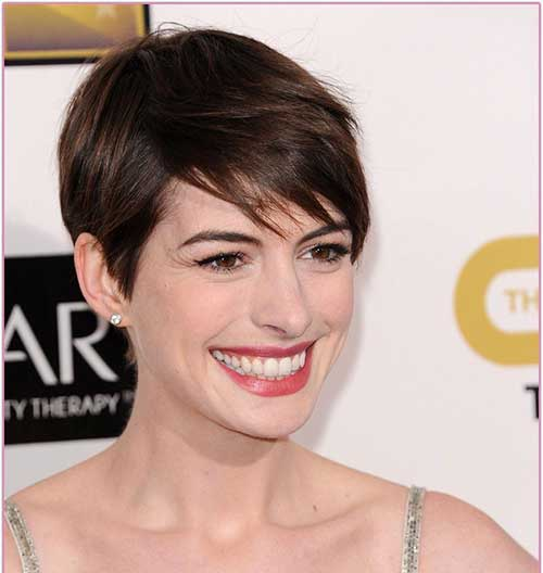 Cute Pixie Cut Anne Hathaway