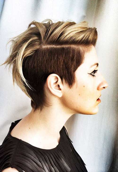 Shaved Two Colored Pixie Hairstyle