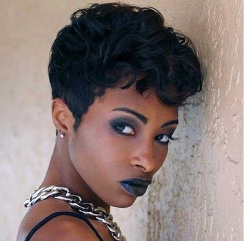 Short Black Haircuts Wavy Pixie 2015