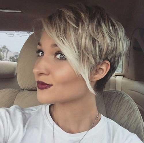Short Blonde Asymmetrical Pixie Cut