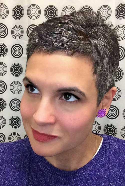Short Spiked Haircuts Grey Hair Color