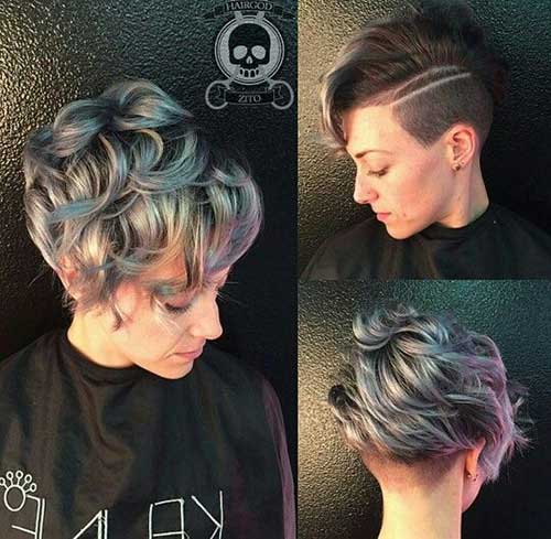 Side Shaved Curly Hair Pixie Cut