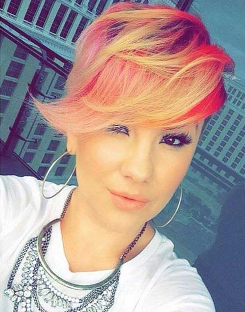 Trendy Colored Long Pixie Haircuts
